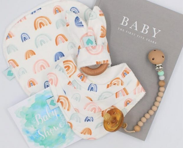 Baby shower gifts in rainbow print