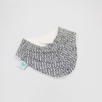 Teething bibs with black circles on white teething bib