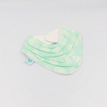 Bandana Baby Bib in aqua with white feathers