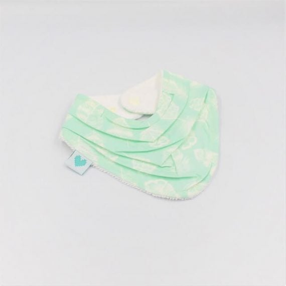 Drool Bib in aqua with white feathers