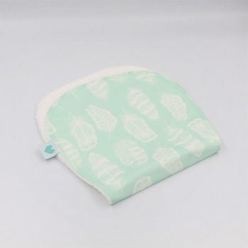 Burp cloths in aqua with white feathers