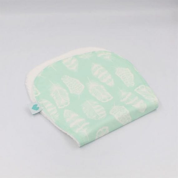 Burp towels in aqua with white feathers