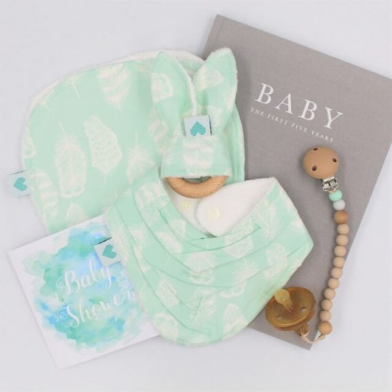 Unisex baby gifts sets in aqua print with white feathers