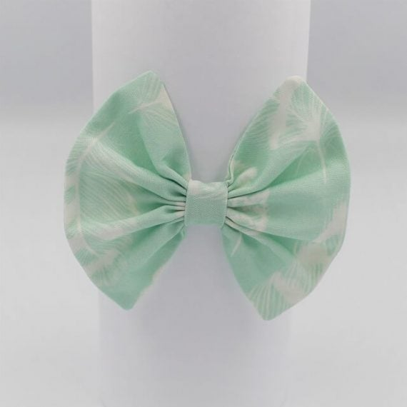 Aqua print with white feathers girls hair bow
