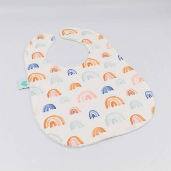 Large Bib in Rainbows Print