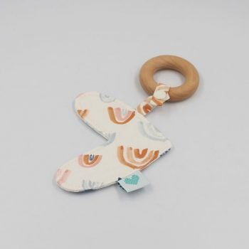 Love Heart Teether in Rainbows Print