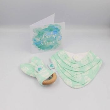Newborn Gift in aqua print with white feathers