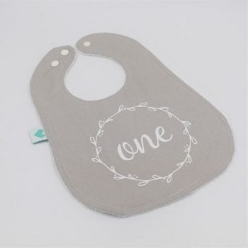 1st birthday bib boy in grey