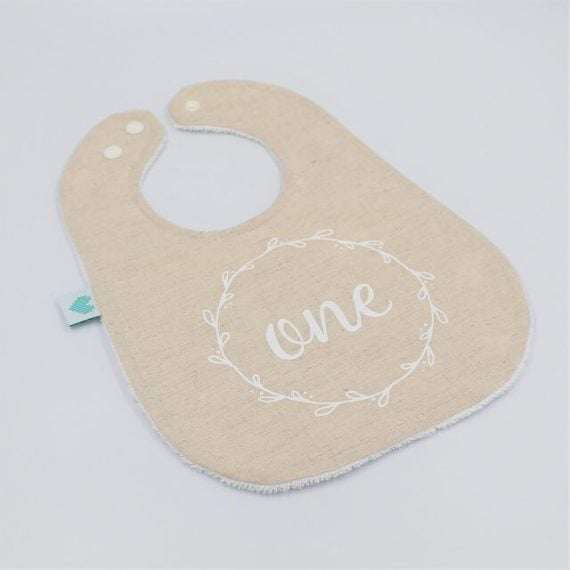 Linen first birthday bib