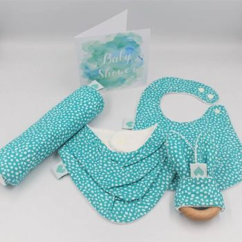 new baby girl gifts in aqua print with white dots