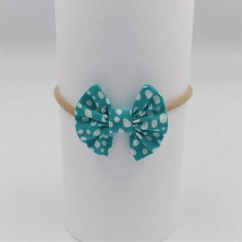 Baby headbands in aqua print with white dots