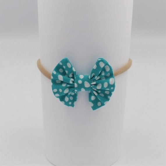 infant headbands in aqua print with white dots