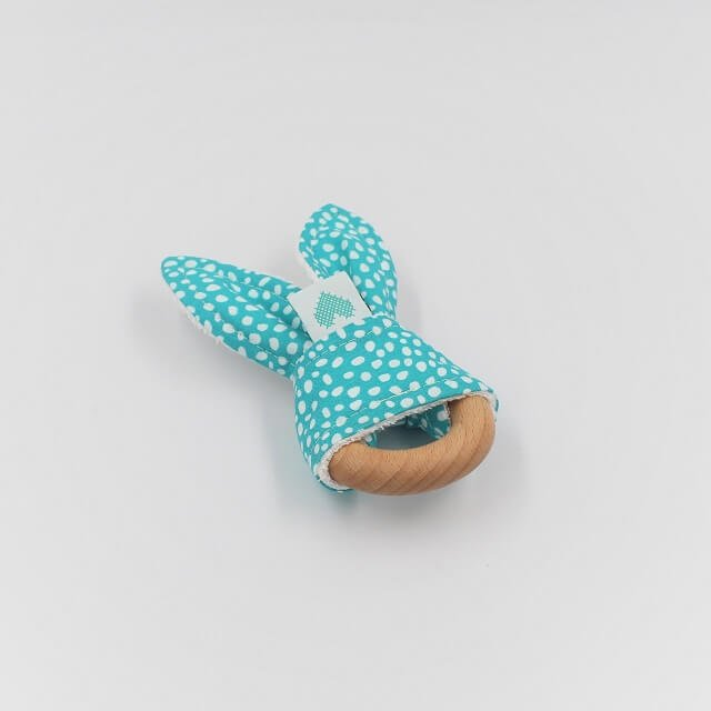 Bunny Teething Ring Abstract Dots