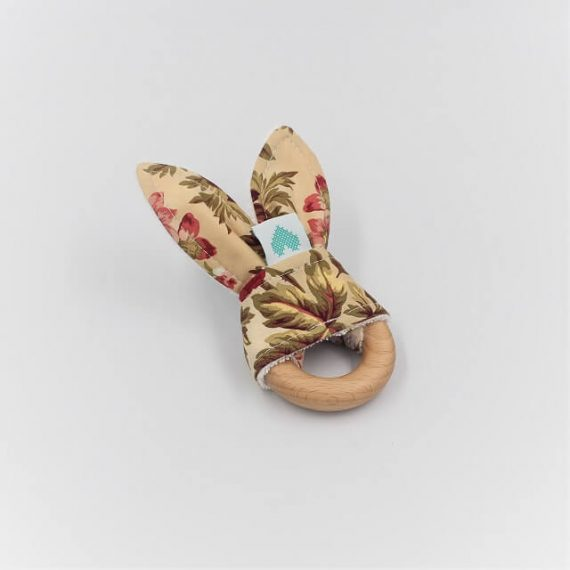 Bunny organic wooden teether with vintage print
