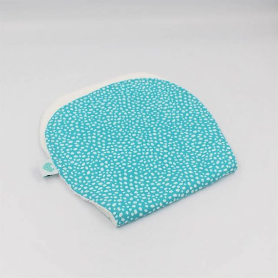 Burping Cloth in aqua print with white dots