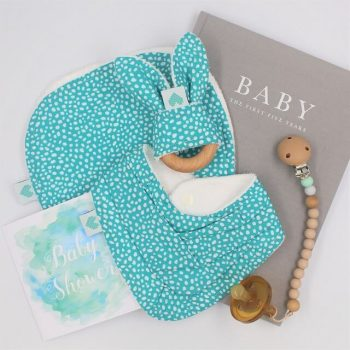 Baby Gifts Perth in aqua print with white dots