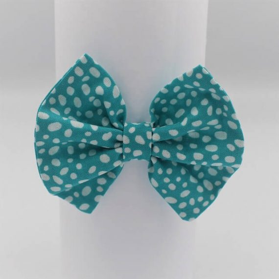 girls hair accessory in aqua print with white dots