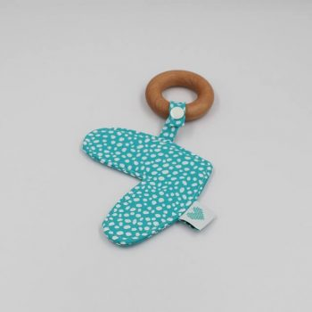 Loe heart wooden teething toy in aqua and white dots