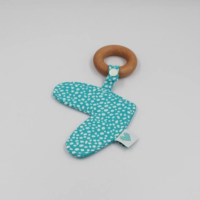 Love Heart Teething Ring Abstract Dots