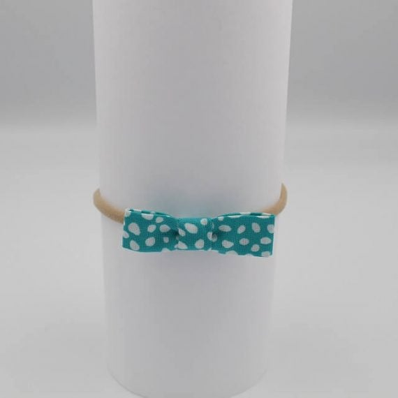 Aqua print with white dots on infant hair bows