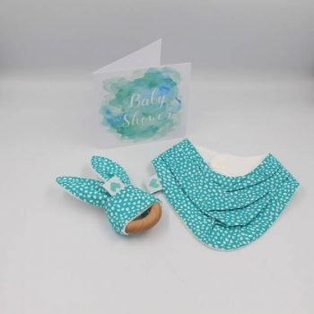 Baby Gift for newborn in aqua print with white dots