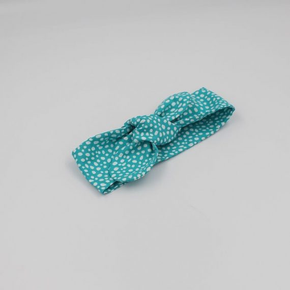 Topknot in aqua print with white dots