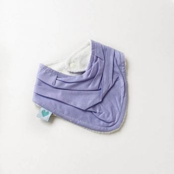 dribble bib in purple print