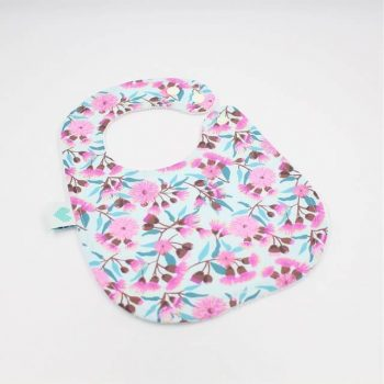 Baby bibs in floral gumnuts print