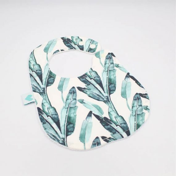 baby bibs in banana leaf print
