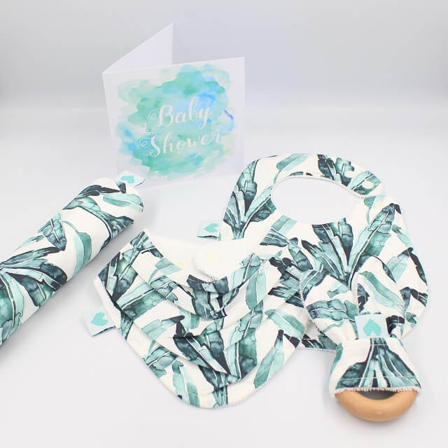 organic baby gifts set in leaf