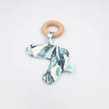 leaf print heart teether