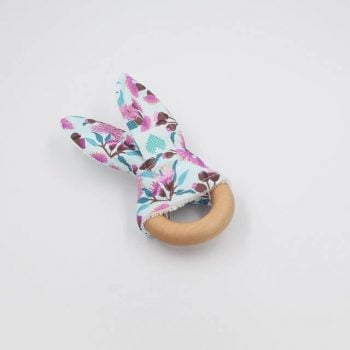 Floral gumnuts bunny teether