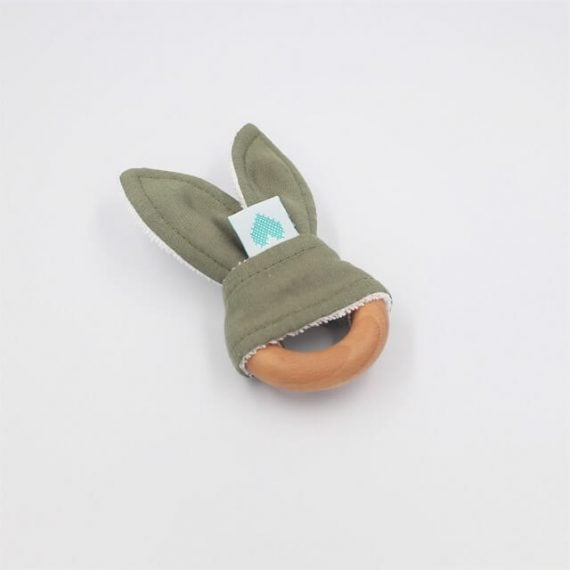 sage wooden bunny teether