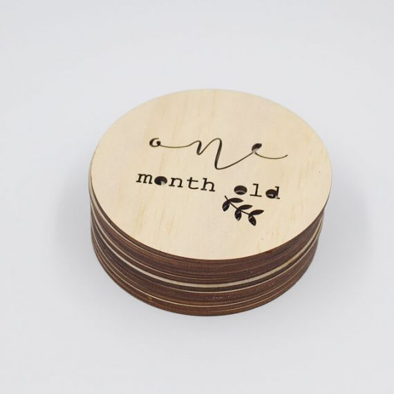 One month old wooden disc