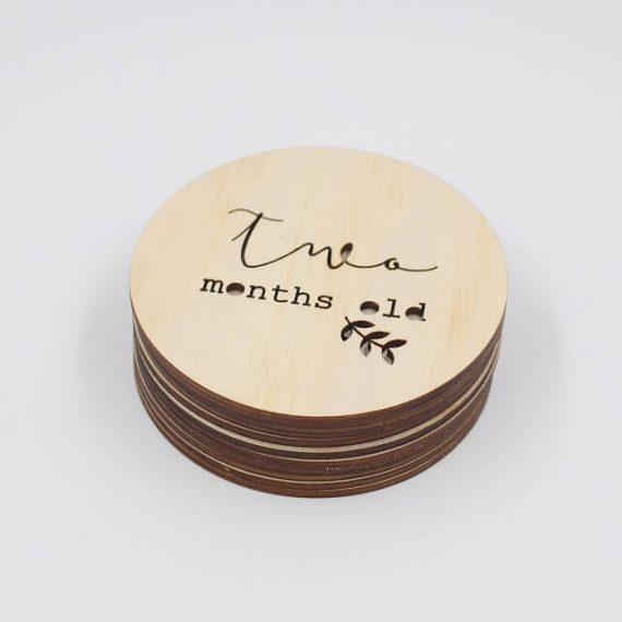 two months old milestone wooden plaque