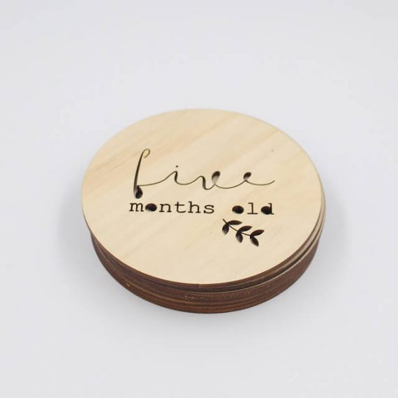 five month old milestone wooden plaque