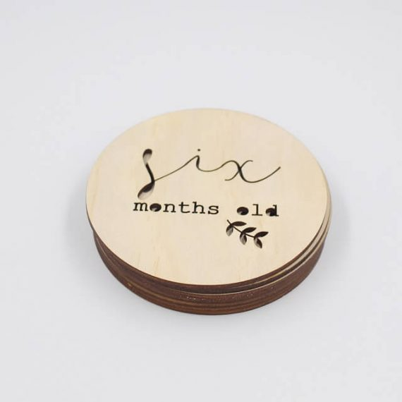 six month old milestone wooden disc