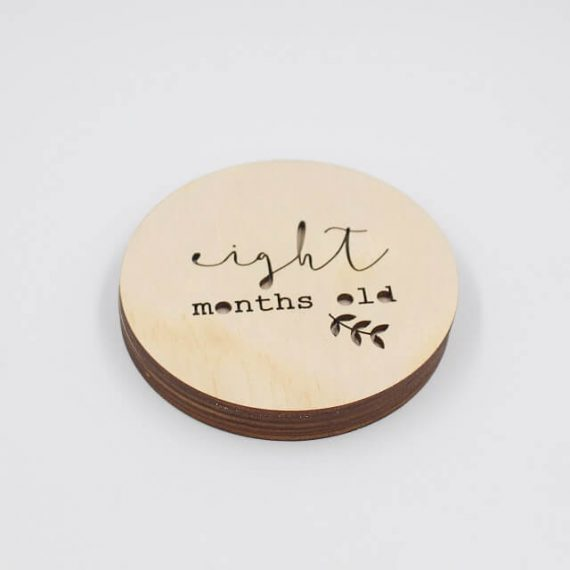 eight months old wooden milestone disc