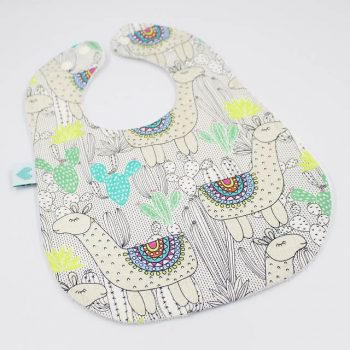Large baby bib in Llamas print