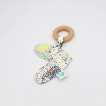 Llamas print love heart teether