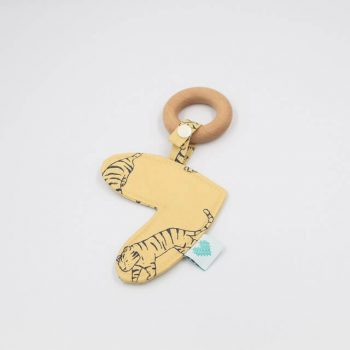 love heart teether in tiger print