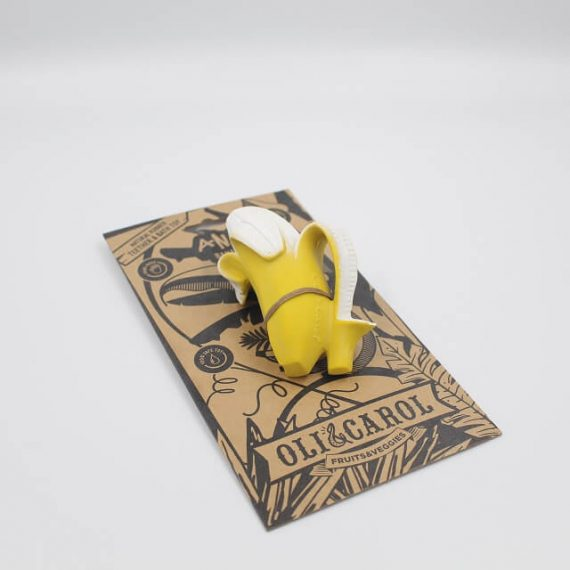 banana teether and bath toy with packaging