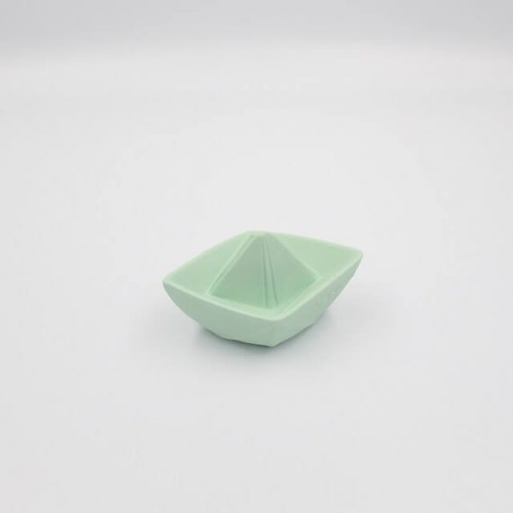 Origami Bath Toy Boat in Mint side view