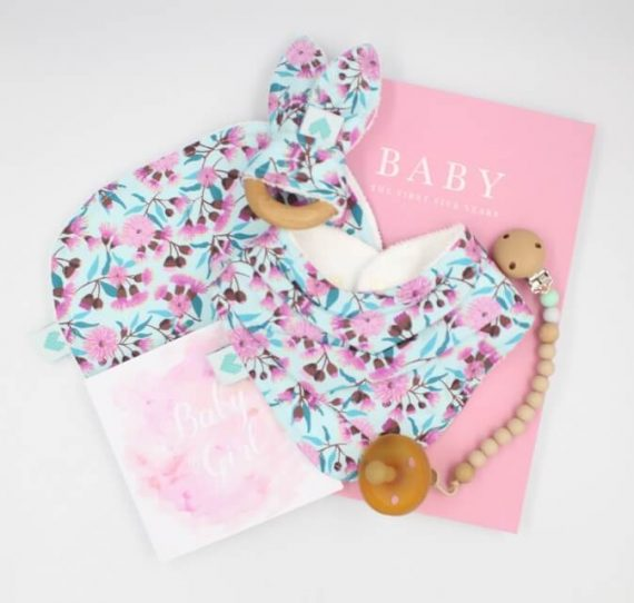 Luxury baby gift floral gumnuts print