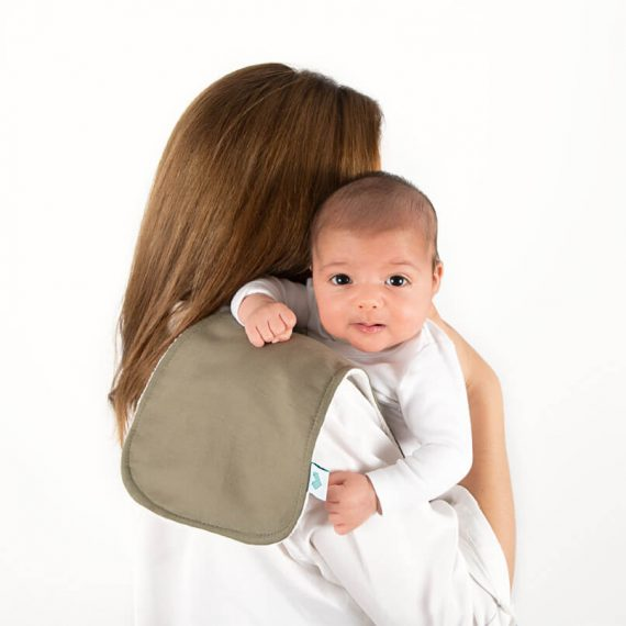 Sage burping cloth with mum and baby