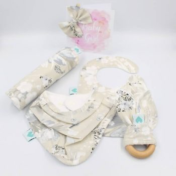 baby girl gift in snowy bloom print