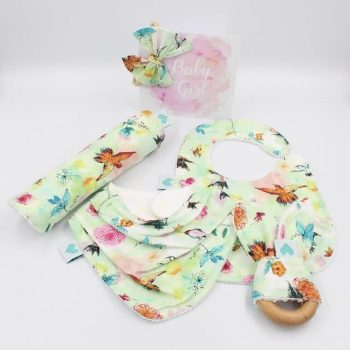 baby girl present in bird print