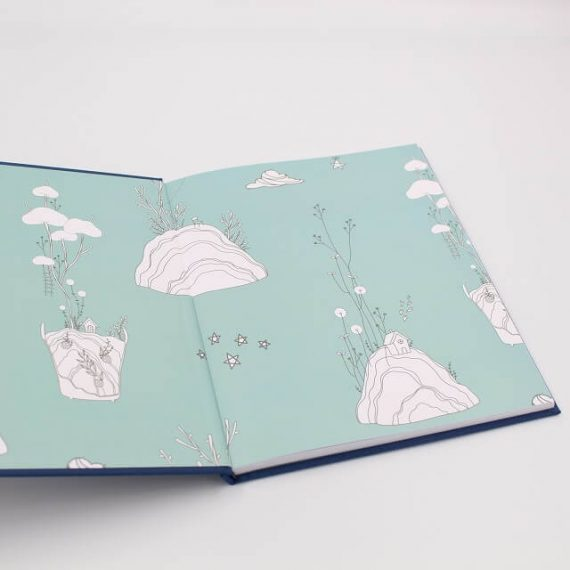 Inside cover of raising you baby book in navy blue