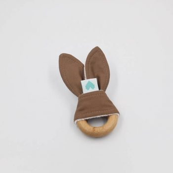 bunny ear teether burnt almond