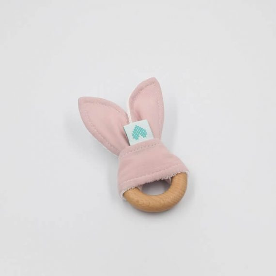 bunny teethers dusty pink
